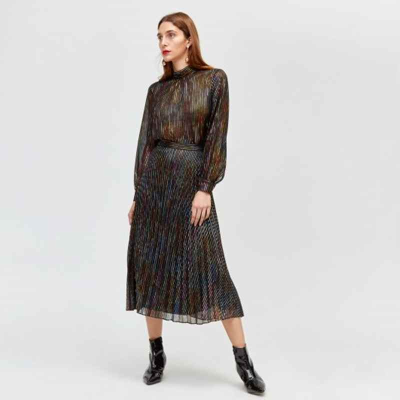 fd9caec42 Zara's Pleated Metallic Thread Skirt £79.99 is also very nice but only  available in Medium. Pair with a knit and boots for the day or a simple  cami and ...